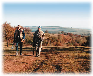 Two treasure buddies are sharing metal detecting hints and tips as they walk along together